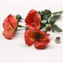 Pack of 3 Vintage Coral Red And Orange Poppy Flowers